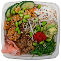 Grubby's Poke & Fish Market poke bowl topping options