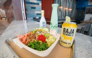 poke bowl with sake and baja beer